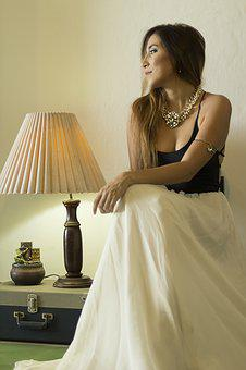 Women, Lamp, Light, Dress, Artist, Decoration