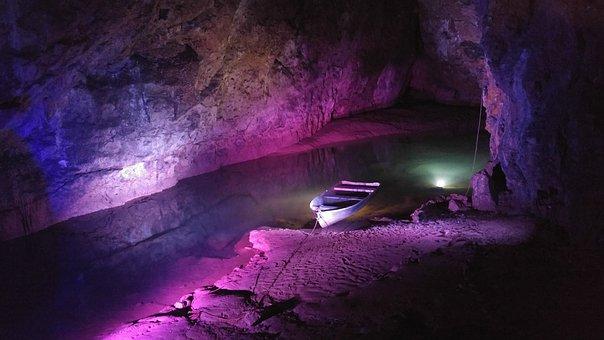 Boat, River, Underground, Cave, Dark, Vessel, Nature
