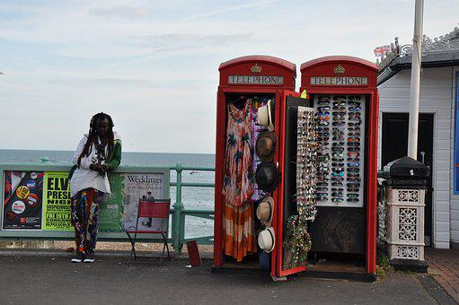 Beach, Phone Booth, Mood, Red, Holiday, British, Sale