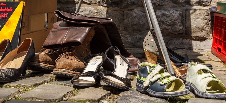 Shoes, Flea Market, Used, Sale, Used Commercially