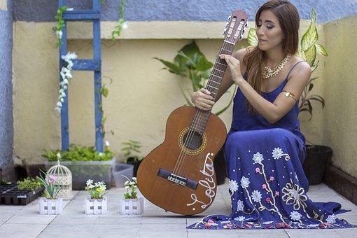 Women, Guitar, Artist, Barranquilla, Flowers, Ladder