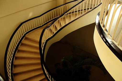 Stairs, Curve Stairs, Steps, Handle, Rail, Wall, Place