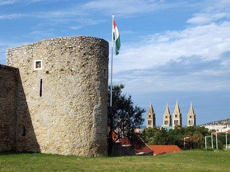 Baranya, Pecs, Walls, Downtown, Church, Flag, Cathedral