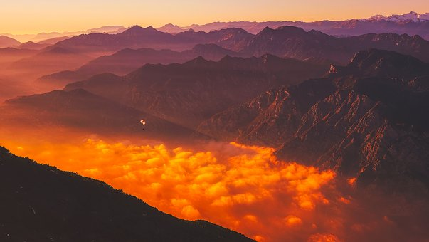 Italy, Paragliding, Mountains, Sunrise, Dawn, Sky