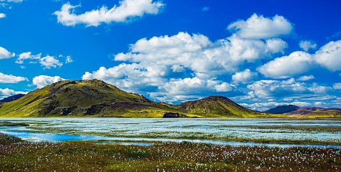 Iceland, Panorama, Mountains, Sky, Clouds, River, Lake