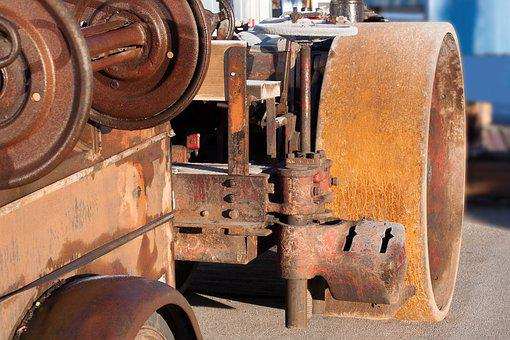 Steam Roller, Road Construction, Old, Antique