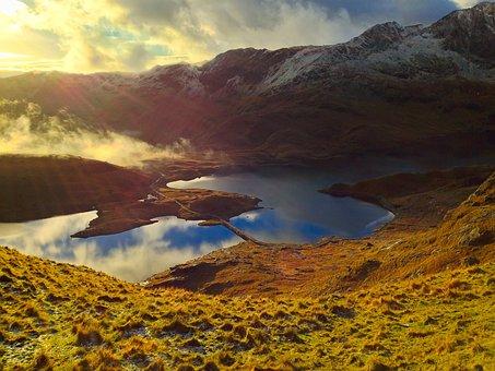 Wales, England, Uk, Mountains, Sunrise, Fog, Sky