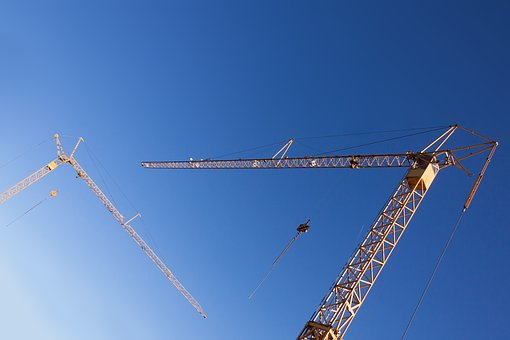 Crane, Yellow, Low Angle Shot, House Construction