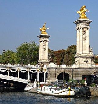 Paris, Columns, Bridge, France, Architecture, Pont