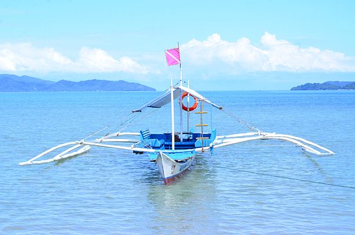 Palawan, Philippines, Boat, Island, Blue, Sky, Clouds