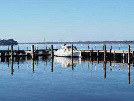 Boat, Metung, Water, Sea, Jetty, Reflection, Sky, Blue