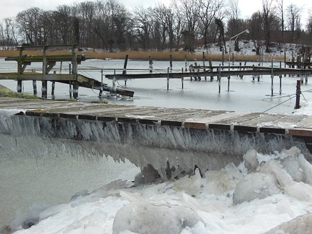 Winter, Ice, Landscape, Iced Natural Harbor, Icicles