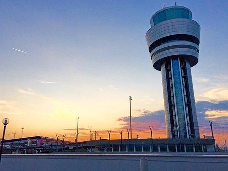 Airport, Building, Sun, Weather, Sky, Air, Aircraft