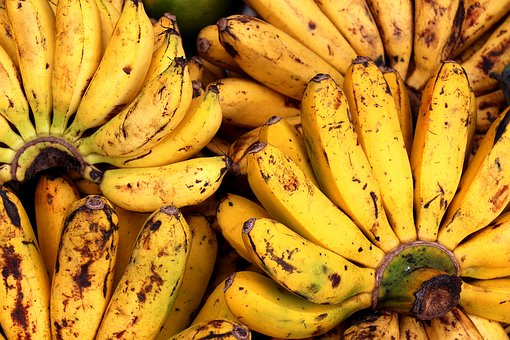 Bananas, Fruits, Assortment, Display, Colorful