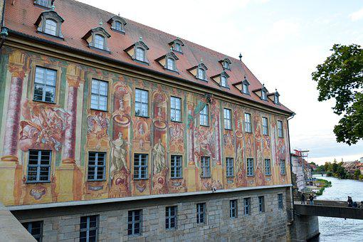 Bamberg, Town Hall, Bridge, Regnitz, Building, Arch