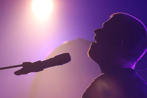 Singer, Sillouette, Concert, Mic, Music, People, Band