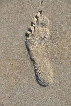 Footprint, Beach, Sand, Foot, Walk, Barefoot, Symbol
