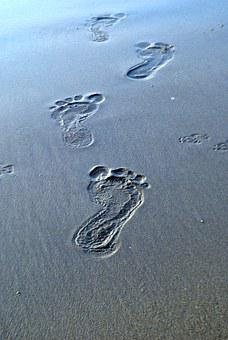 Footsteps, Sand, Traces, Barefoot, Footprint, Beach