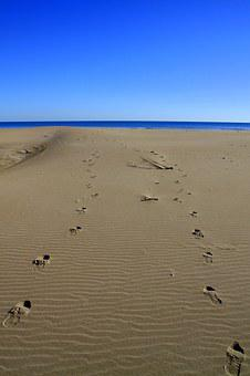 Footprints, Sand, Sea, Sky, Beach, Nature, Outdoor