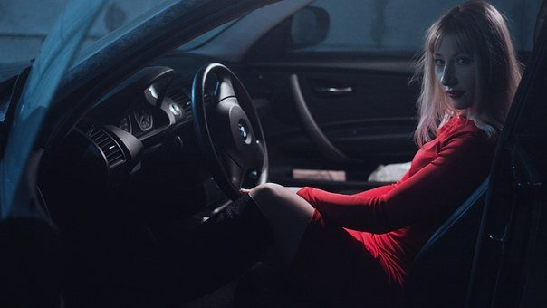 Girl In Car, In A Red Dress, Behind The Wheel, Blonde