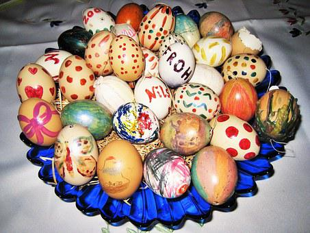 Easter, Easter Eggs, Self Painted, Children Bastelei