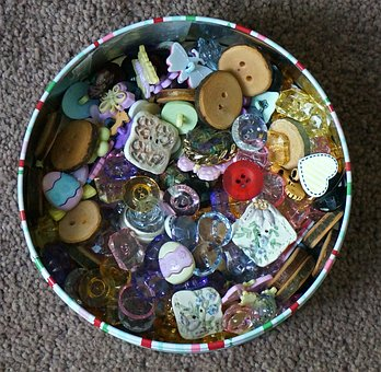 Button Box, Buttons, Assorted, Colorful, Craft