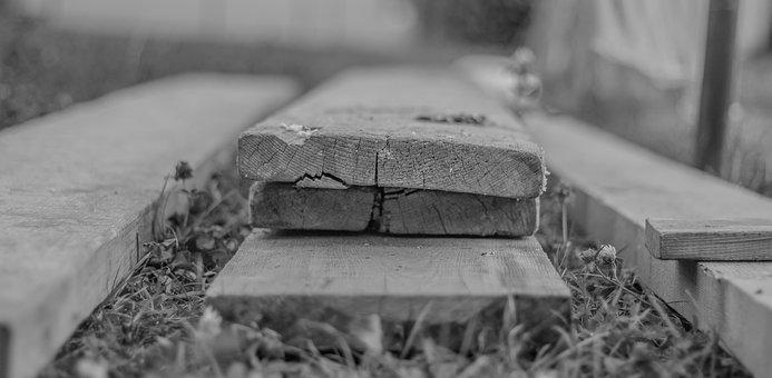 Depth Of Sharpness, Leaves, Wood, Black, Gray, Building