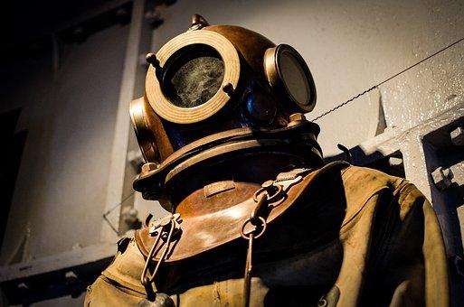 Diving Suit, Old, Historic, Helmet, Scuba, Diver