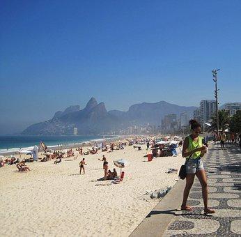 Ipanema-beach, Rio, Twin Mountains, Dois Irmaos, Brazil