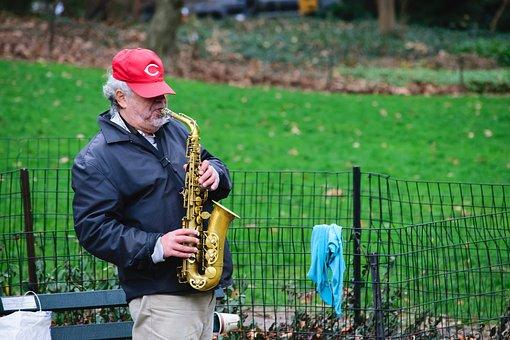 Grass, Man, Centralpark, Nature, Music, Saxophone, Fall