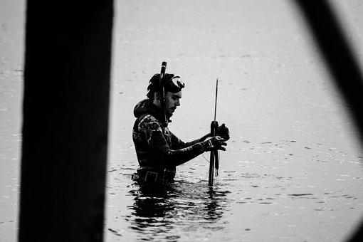 Harpoon, Diving, Fishing, Hunting, Water, Sea, Man