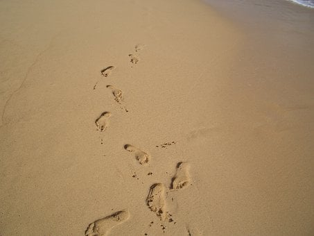 Footprints, Sand, Beach, Shoreline, Foot, Summer, Walk