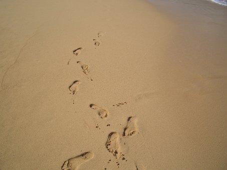 Footprints, Sand, Beach, Shoreline, Foot, Summer, Walk