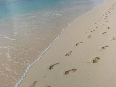 Footprints, Beach, Water, Footstep, Beach Sand, Print