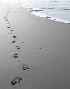 Footsteps, Sand, Beach, Waterfront, Sea