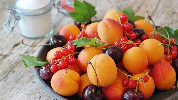 Fruit, Fruit Plate, Fruits, Apricots, Currants