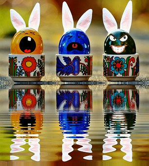 Egg, Face, Funny, Water, Mirroring, Bank, Easter, Fun