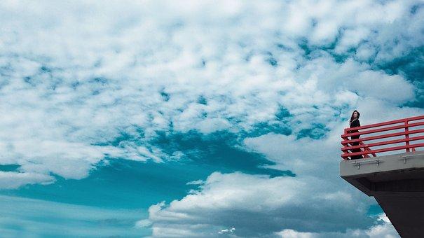 Edge Of The World, Bridge, Girl, Sky, Blue