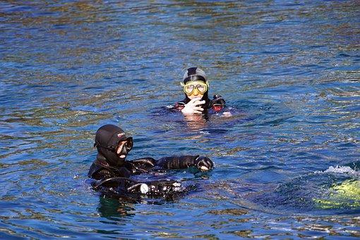 Divers, Diving Mask, Water, Atlantic, Glasses, Diving