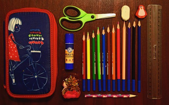 Pencil Case, Sissors, School, Supplies, Glue, Colorful