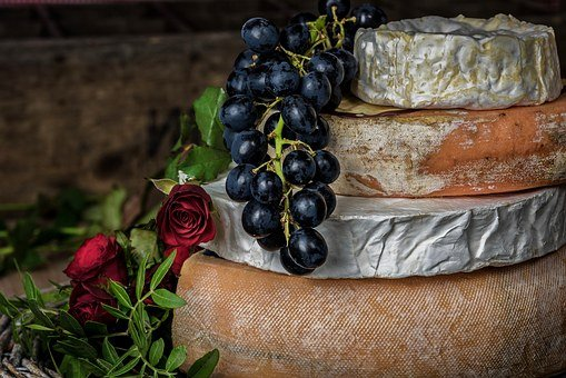 Cheese, Grapes, Fruit, Food, Dairy, Red, Delicious