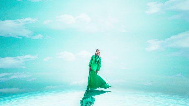 Edge Of The World, Walk On Water, Girl, Green, Dress
