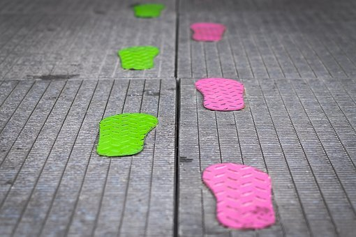 Footsteps, Path, Green, Pink, Metal, Foot, Footprint