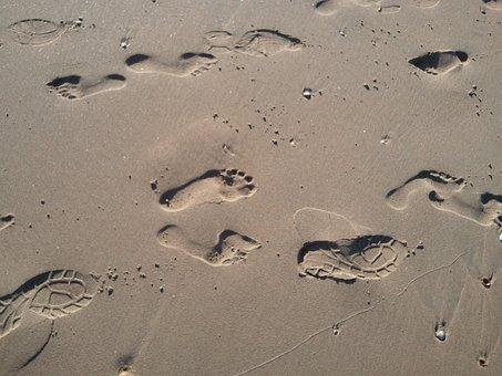 Beach, Sand, Hiking, Footsteps, Track