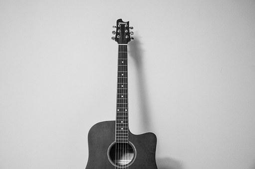Guitar, Music, Instrument, Isolated, Black And White