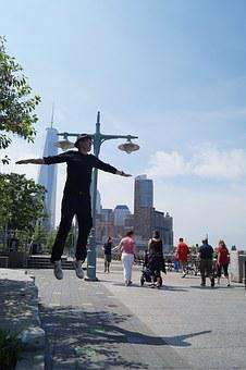 Jump, Young Man, Weightlessness, New York, America