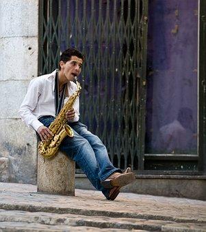 Saxophone Player, Music, Performer, Instrument, Man