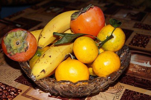 Fruit, Table, Banana, Clementines, Mandarins, Persimmon