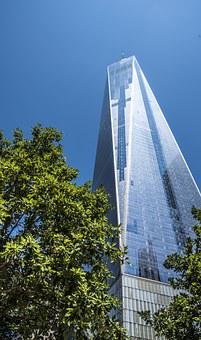 One World Trade Center, Tower, Manhattan, Sky, Blue