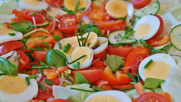 Salad, Mixed, Tomato, Cucumber, Iceberg Lettuce, Green